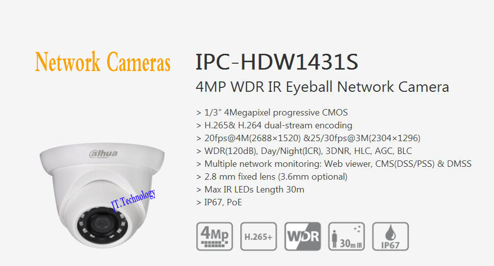 In Stock Free Shipping DAHUA Security IP Camera 4M WDR IR Eyeball Network Camera With POE IP67 With Logo DH-IPC-HDW1431S цена 2017