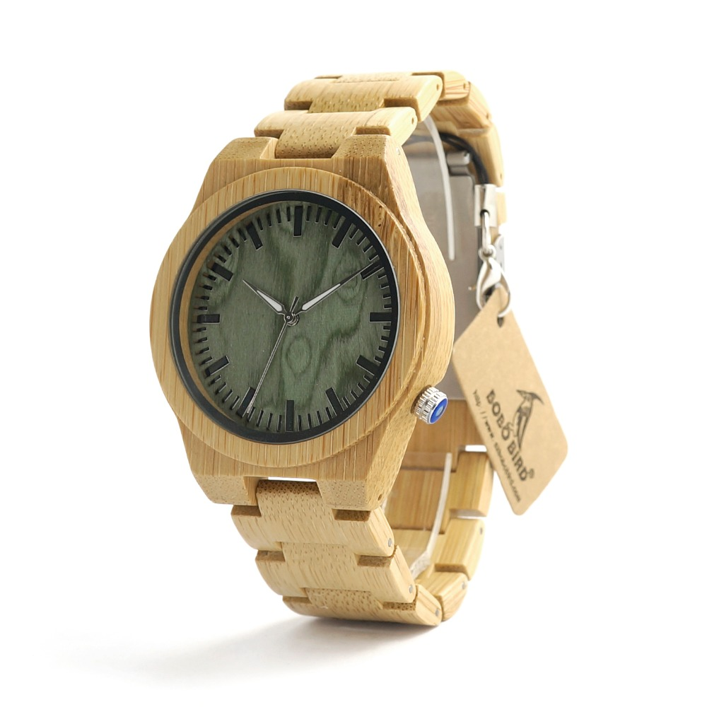 цены на Bobobird B22 Mens Top Brand Design Green Wood Dial Full Bamboo Wooden Quartz Watches Japan 2035 Miyota Movement