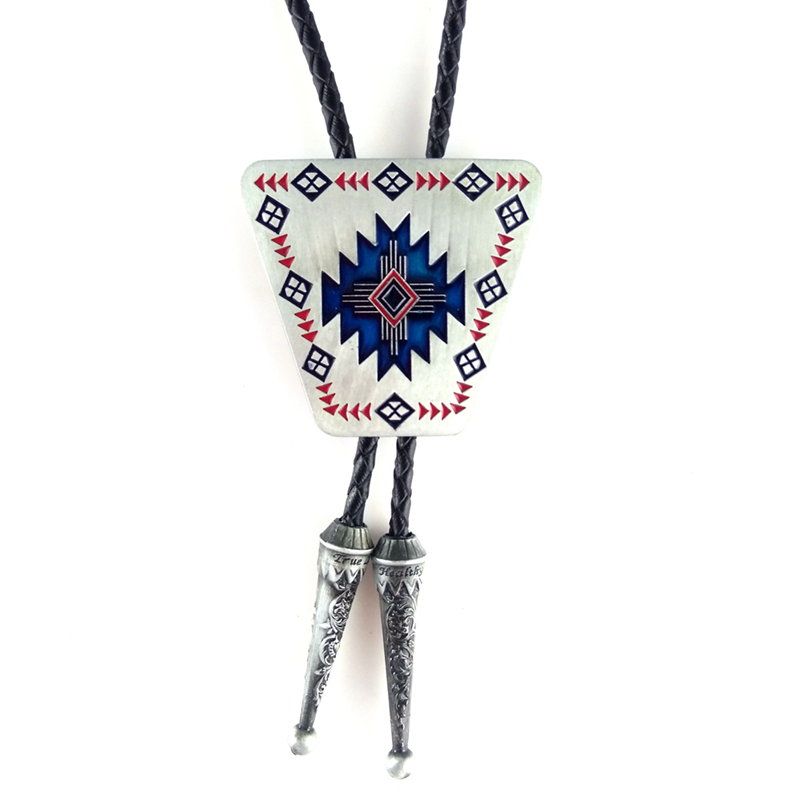 Male accessories Fashion necklace for men Black leather cowboy bolo tie with Tribal totem Metal buckle djustable