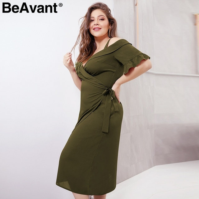 BeAvant Elegant cold shoulder plus size dress women V neck short sleeve summer dresses Casual wrap midi ladies dresses vestidos 5