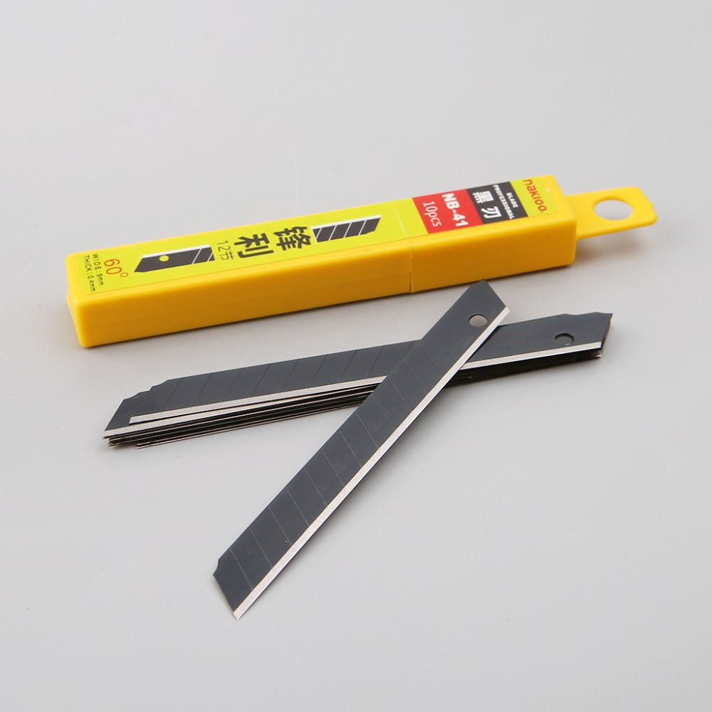 10pcs 60 Degree Ultra Sharp Snap Off Replacement Razor Blades 9mm Shaving Blade Utility Knife Tools Carbon Steel NB-41