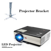 CAIWEI Digital LED Projector Home Theater Beamer LCD Projector Support 1080P Proyector Game Smartphone Laptop with bracket
