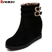 Asumer 2017 Hot Sale New Arrive Women Ankle Boots Solid Color Autumn Winter Boots Buckle Zipper