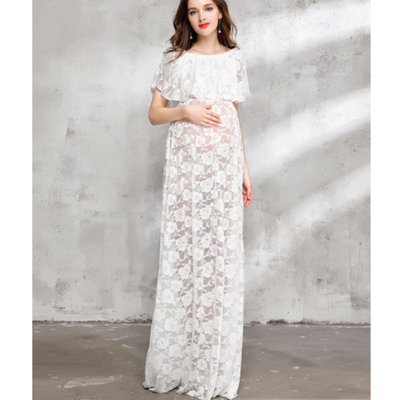 2017 Maternity Photography Props Pregnant Women White Lace Dresses Pregnancy Photo Shoot Sleeveless Flower Dress M826