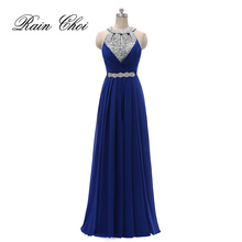 Formal Bridesmaid Dress Women Halter Wedding Party Gown Chif