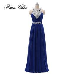 Formal vestido de dama de honra feminino halter casamento vestido de festa chiffon longo vestidos de dama de honra 2019