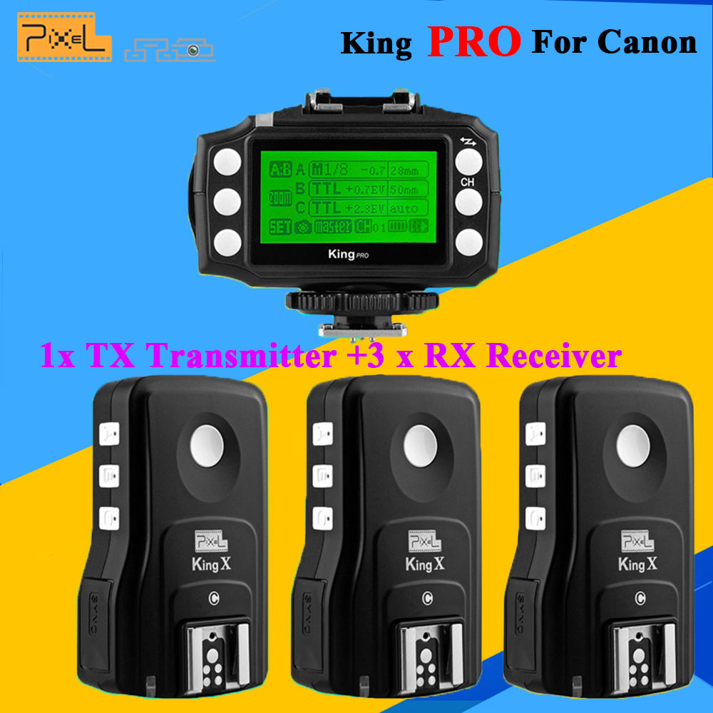 Pixel King Pro Wireless 2.4G TTL 1/8000S HSS Flash Trigger Set For Canon 1100D 5D3 DSLR Camera 3x Transceivers +1x Transmitter потребительские товары cs pro cs 1 dslr 6d canon 5d 3 7 d t3i d800 d7100 d3300 pb039