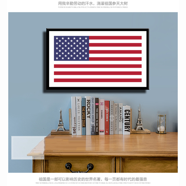 American Flag Canvas Print Painting Poster Wall Art Picture For Study Room  Corridor Of School Museum