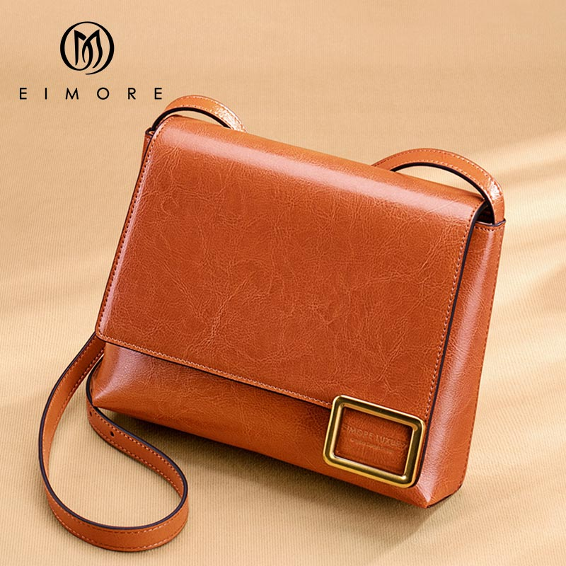 EIMORE Crossbody Bag Women's New 2019 Woman Bag Spring Fashion Square Bag Female Simple Wild Leather Shoulder Messenger Bag-in Top-Handle Bags from Luggage & Bags