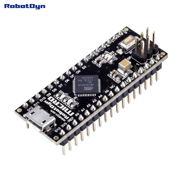 Micro ATmega32U4 (5V, 16MHz). Pins soldered. Compatible with Arduino Micro and Leonardo