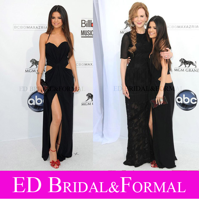 selena gomez dress black cutout high slit out prom