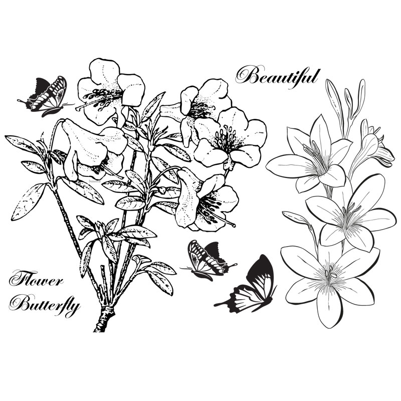 Butterfly Flower Sketching rose Scrapbook DIY photo cards account rubber stamp clear stamp transparent stamp Handmade card stamp scrapbook diy photo cards account rubber stamp clear stamp transparent stamp ancient lady hanger mirror paris 14x18cm sd136