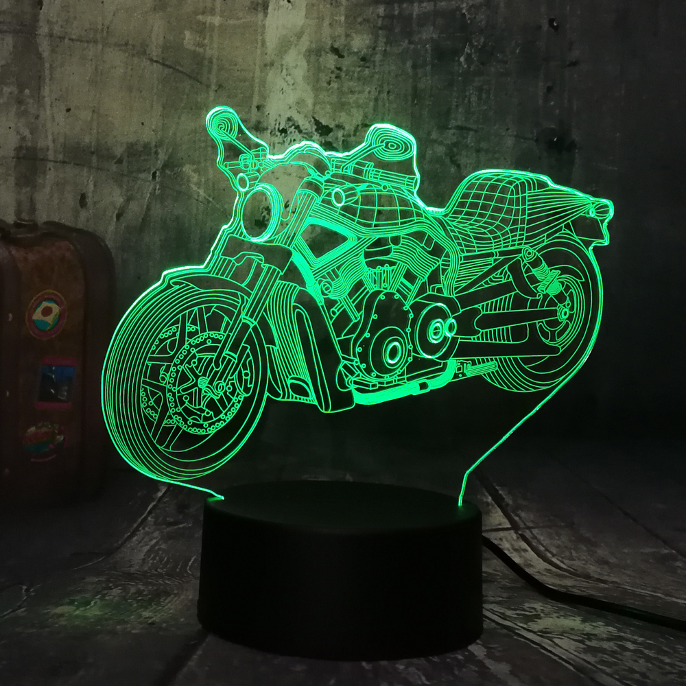 Novelty Cool Motorcycle Motorbike Boy Toys 3D LED Night Light USB Touch Remote RGB Table Desk Lamp Home Decor Christmas Gift