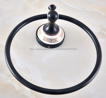 Bathroom Towel Holder Wall-Mounted Round Oil Rubbed Bronze Ring With Ceramic,Towel Rack Nba220