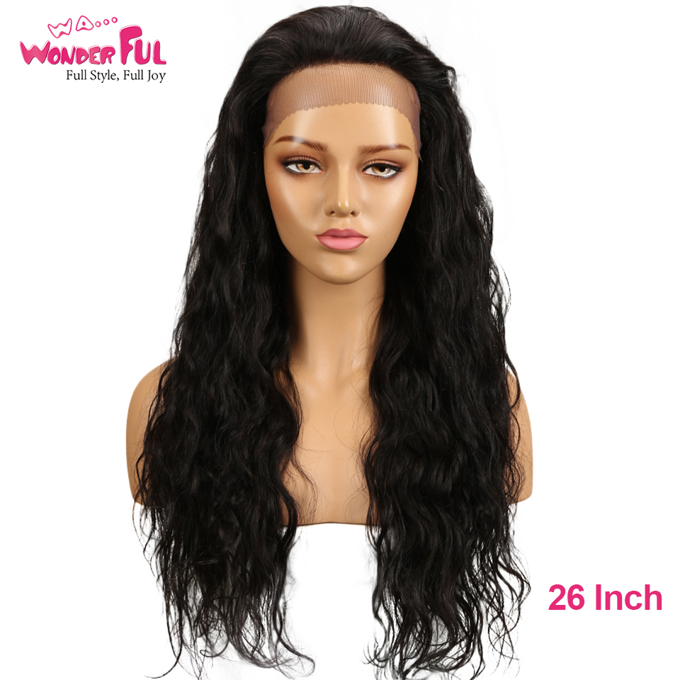 Mongolian Remy Wigs 4.5 X 3 Lace Size  Human Hair 26 Long Inch Wavy Wigs  Natural Color Human Hair Wigs For Black Women