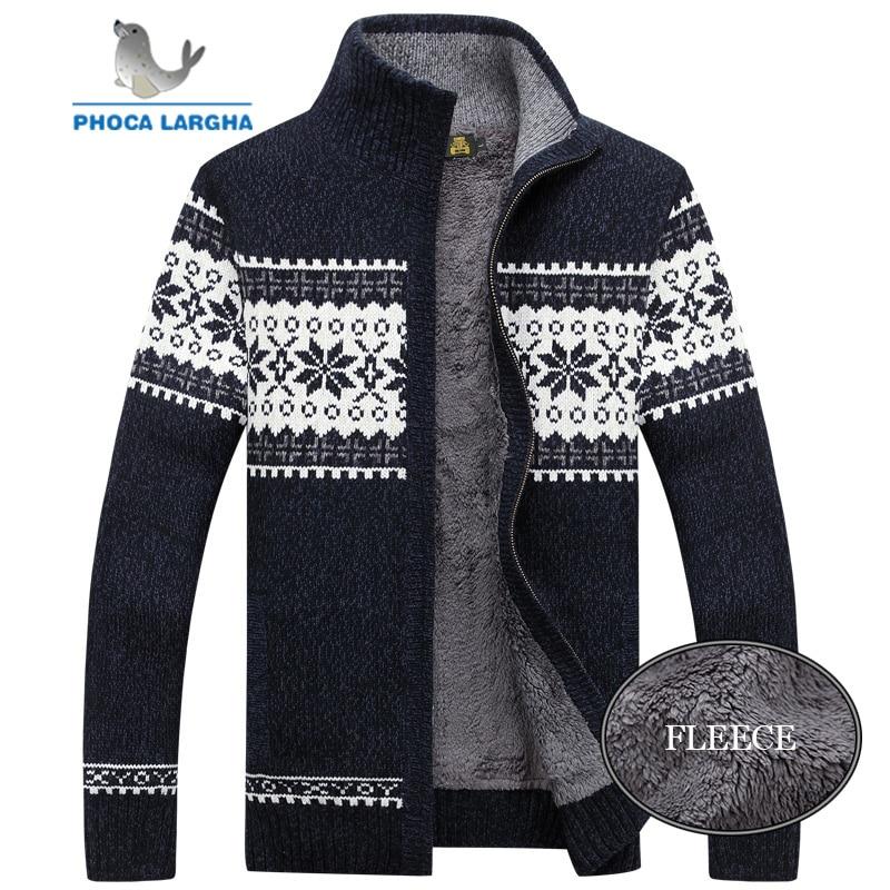 Men's Knitted Sweatercoat Winter Pattern Wool Cardigan Male Casual Velvet Thicken Warm Fleece Christmas Sweater For Man Hombre