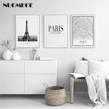 Black and White World City Map Paris Poster Nordic Style Living Room Wall Picture Home Decor Modern Landscape Canvas Painting