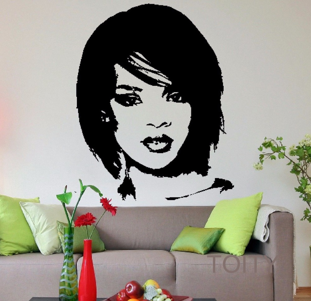 Rihanna head wall decal pop music singer vinyl sticker celebrity rihanna head wall decal pop music singer vinyl sticker celebrity art decor bar studio club restaurant home interior room mural in wall stickers from home amipublicfo Image collections