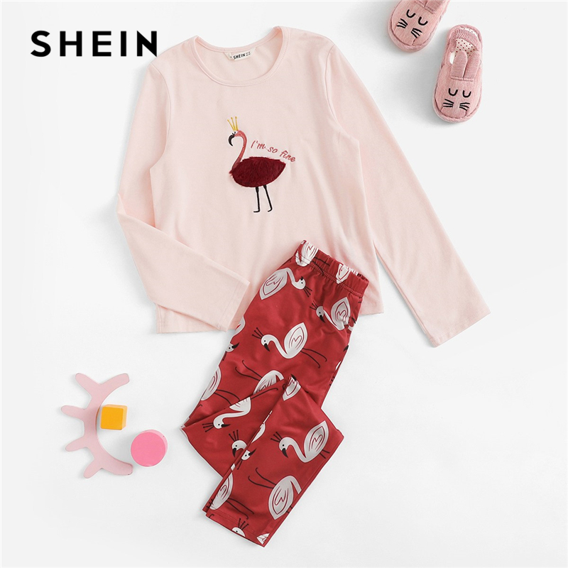 SHEIN Kiddie Faux Fur Embroidery Flamingo Top And Pants Girls Clothing Two Piece Set 2019 Spring Long Sleeve Cute Kids Clothes puff sleeve crop top and wide leg pants set