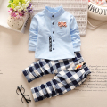 New Autumn Spring baby children boys plaid Cotton Clothing Sets T-Shirt+Pants Sets five star Suit 18M-4T