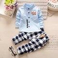Nuevo Otoño del Resorte del bebé niños chicos Sistemas de la Ropa de Algodón a cuadros T-shirt + Pants Juego de cinco estrellas 18 M-4 T