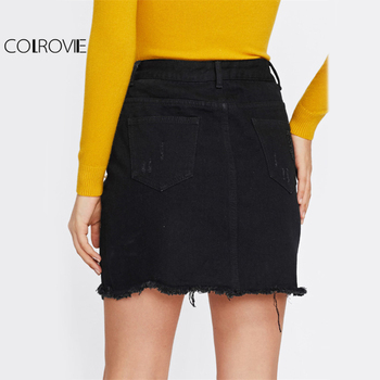 COLROVIE Pearl Detail Ripped Skirt Women Black Cut Hem Cute Denim A Line Skirts Fashion Spring Fall Girls Casual Skirt 1
