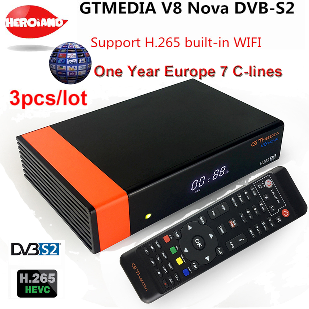 цена на 3PCS GT Media V8 Nova DVB-S2 Freesat Satellite Receiver V8 Super Version H.265 WIFI+1Year Europe Spain PT DE PO CCcam TV decoder