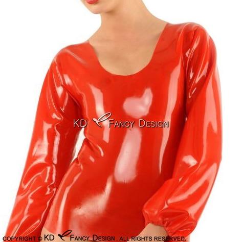 Rouge Sexy Manches Longues Avec Élastique Ruban Sur Poignets Latex Blouse En Caoutchouc Shirt Top Vêtements Vêtements YF-0107