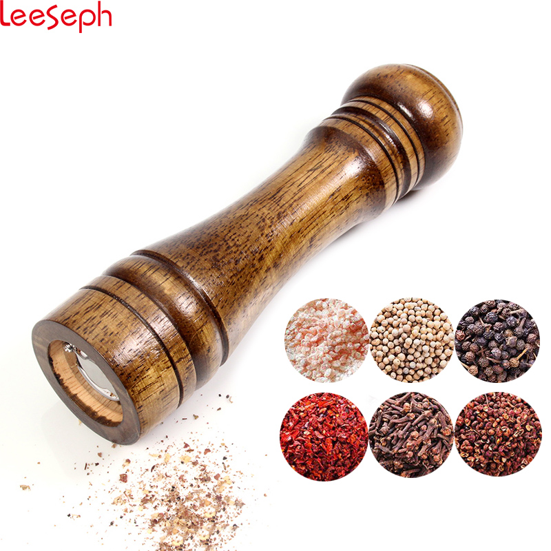 Salt and Pepper Mill, Solid Wood Pepper Mill with Strong Adjustable Ceramic Grinder 5