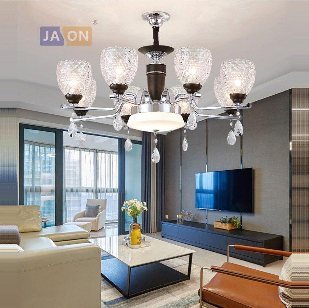 Led E14 Modern Iron Glass Crystal Black Chrome LED Lamp LED Light.Pendant Lights.Pendant Lamp.Pendant Light For Dinning Room