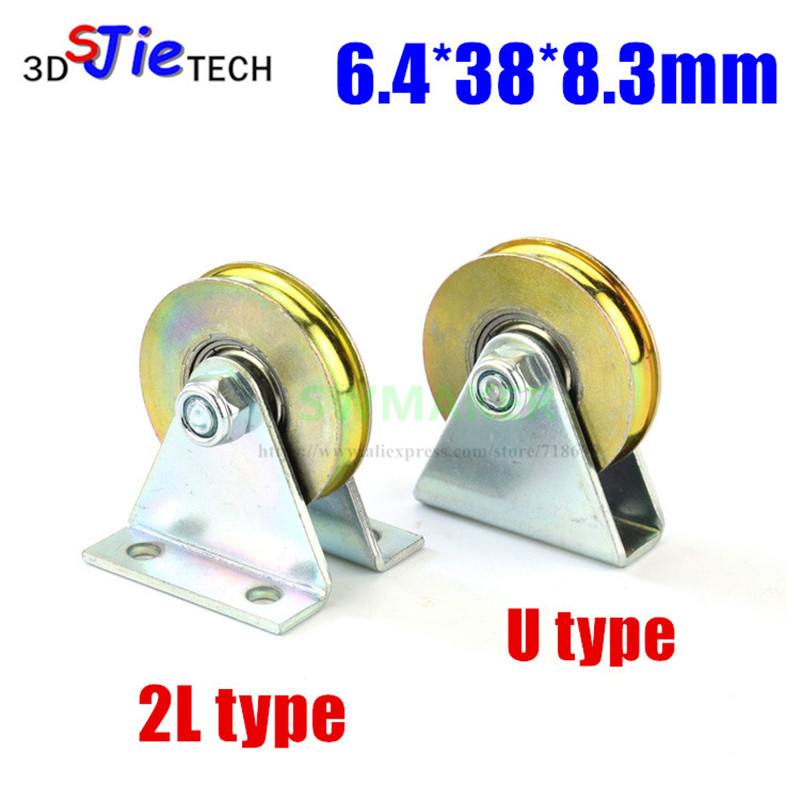 6.4*38*8.3mm With Triangular Bracket/L Bracket, U-grooved Wheel, Bearing Wire Rope Pulley/crane/guide Wheel, With Base
