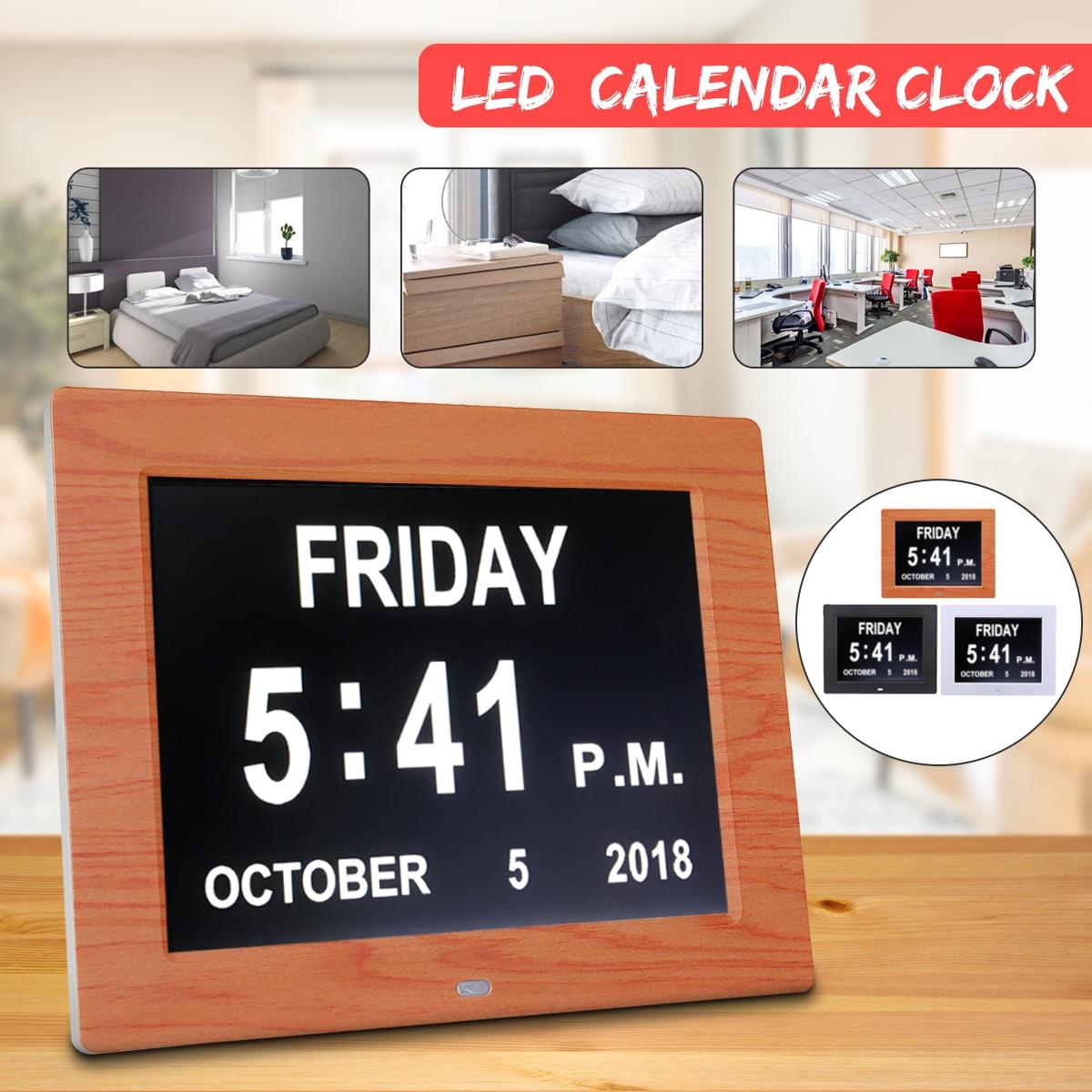 7 Инче светодио дный слабоумие цифровой календарь День/неделю/месяц/год часы подставка и рамка для фотографии большие настенные часы календ...