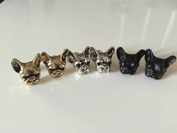 Newest French Bulldog earring new Fashion jewelry  for women animal earring for watch women antique silver black gun bronze