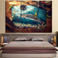 HD Printed 3 Piece Canvas Art Fishing Rod Tuna Blue Ocean Painting Wall Pictures For Living