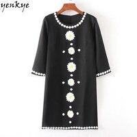 Sweet Women Daisy Emrboidery Dress O Neck Half Sleeve Elegant Straight Mini Dress Autumn Lady Office
