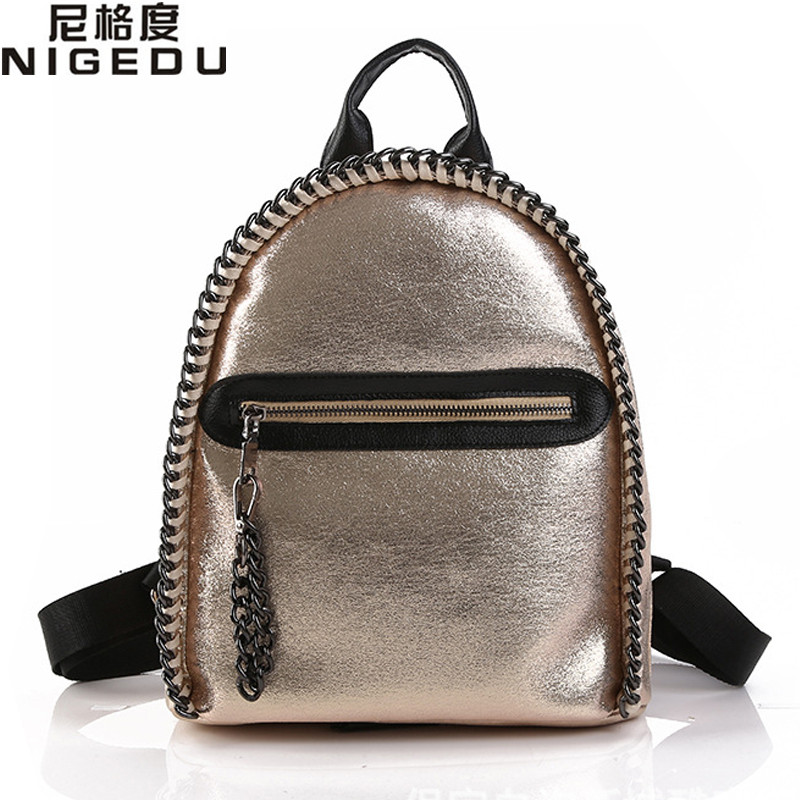 NIGEDU Brand Women Backpack Glitter Soft PU Leather Girls Backpacks Students School Rucksack Chains Shiny Bag mochila Gold nigedu brand genuine leather women backpacks large capacity female school bag laptop backpack girls shoulder travel mochila