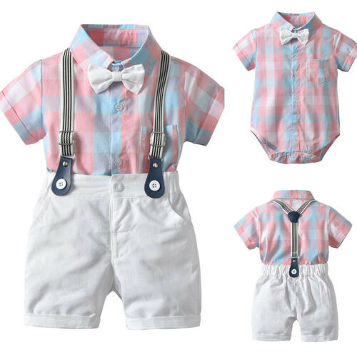 2019 Summer Vestidos Daily Party Toddler Baby Boy Gentleman Suit Plaid Bow Tie T-Shirt Shorts Pants Outfit Set Children Clothes