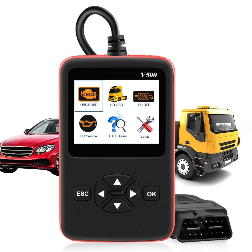 Car Truck Obd2 Scanner V500 HD Heavy Duty Truck Diagnostics Code Reader Car Truck Obd Dual-use Auto Diagnostic Tool