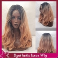 Cheap Body Wave Black/Dark Pink Wig Synthetic Lace Front Wig Ombre Sexy Full Hai Color Natural Wavy Wig In Stock For Black Women