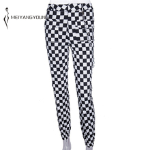 High Waist Plaid Pants Trousers for Women Checkered Pants Mu