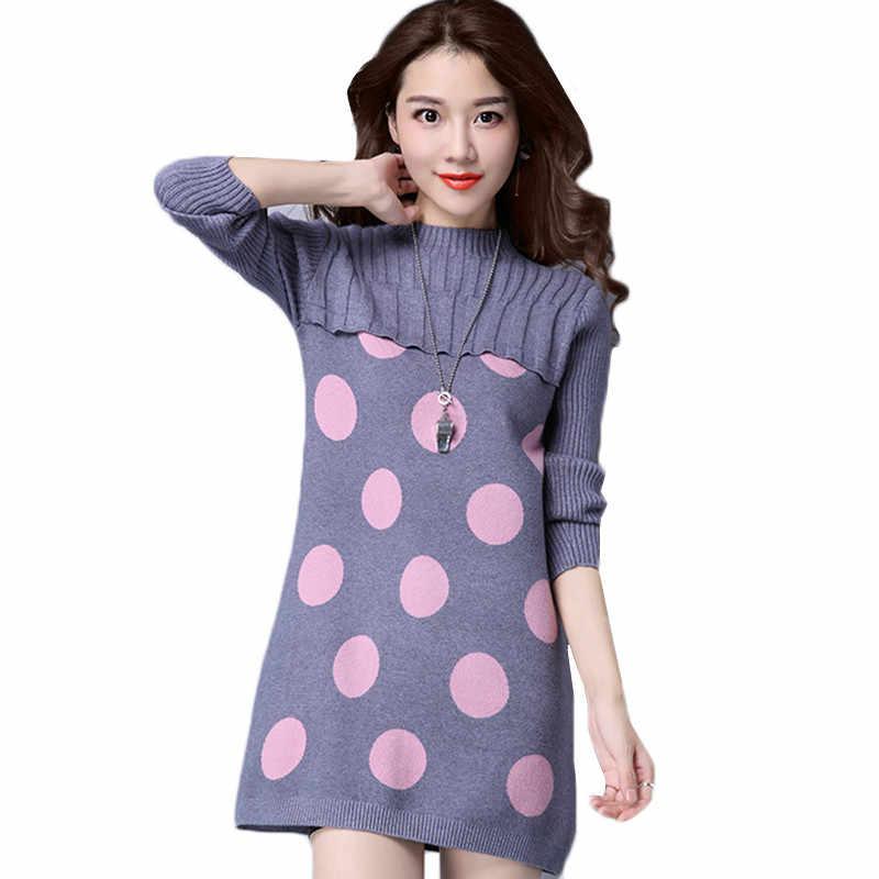 Okxgnz 여성 니트 드레스 라운드 넥 긴 소매 a 라인 풀오버 니트 2018 새로운 가을 겨울 여성 미니 스웨터 드레스 k782