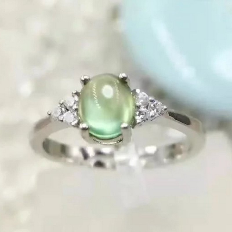 Natural Prehnite Gemstone 925 Sterling Silver Ring Jewelry All SIZES