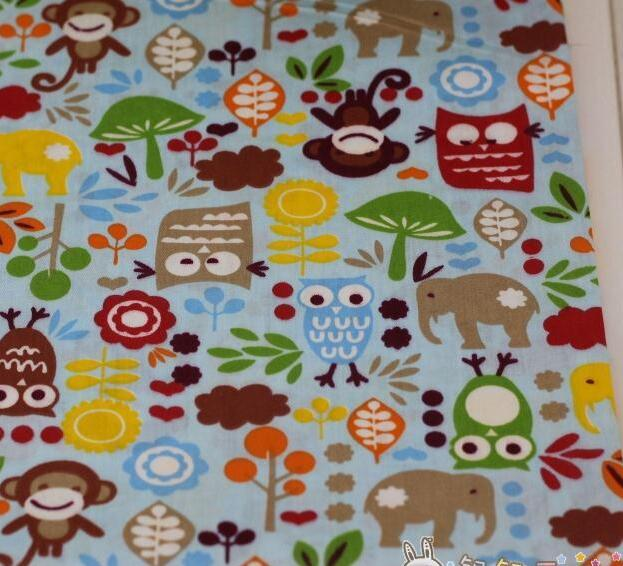 50160cmpiece owls monkey printed cotton fabric for patchwork quilt babyroom decoration pillow - Decorator Fabric