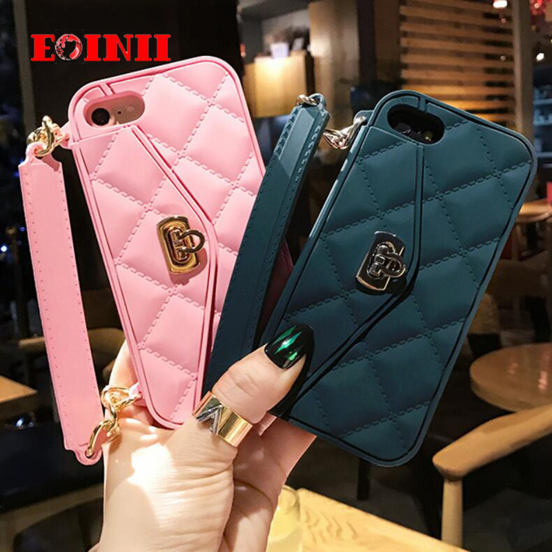 Luxury Fashion Soft Silicone Card Bag Metal Clasp Women Handbag Purse Phone Case Cover With Chain For Iphone 7 6 S 6 / 6s 6Plus
