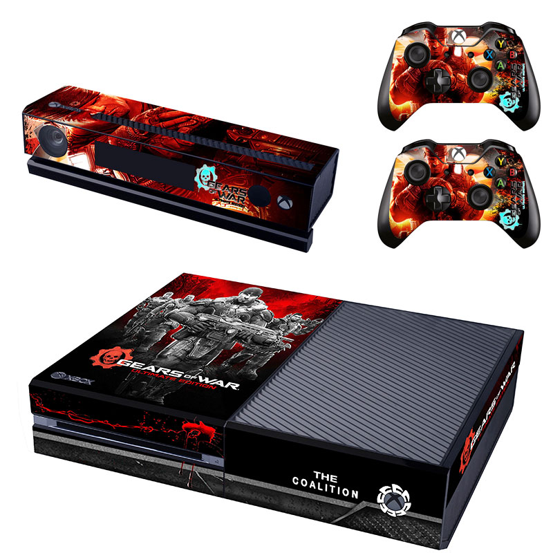OSTSTICKER Gears of War PVC game console skin stickers for xbox one kinect and 2 controller skin stickers