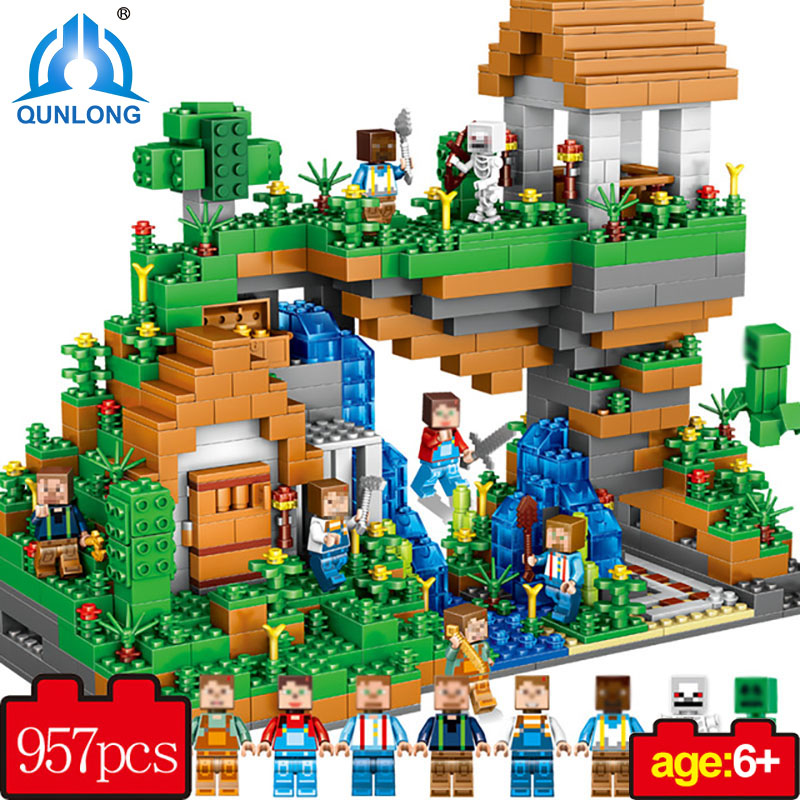 Qunlong My World Hidden Water Falls Building Blocks Figures Bricks Toys Educational Toy For Kids Compatible Legoe Minecraft City new 4pcs set minecraft sword espada models figures my world building blocks model set figures compatible toys for kids