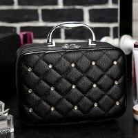 2017 New Fashion Luxury Inlaid Rhinestone Cosmetic Bag Large Capacity Lady Cosmetics Box Toiletries Storage