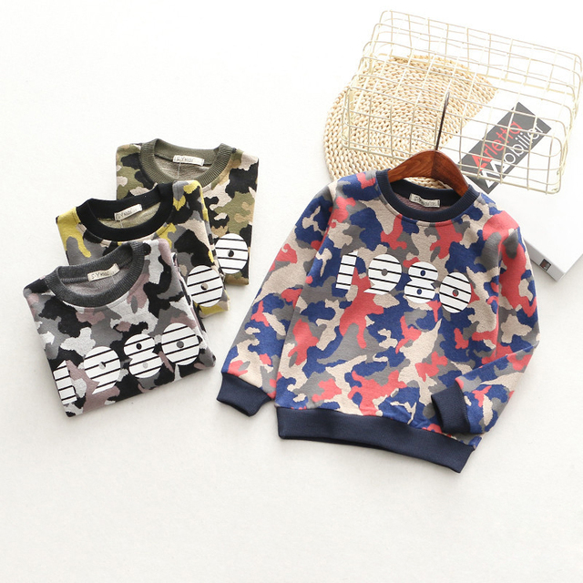 T-Shirts For Boys Girls Camouflage Cotton Kids Top Long Sleeve Toddler Pullover Clothes Digital Print T-Shirt Children Clothing