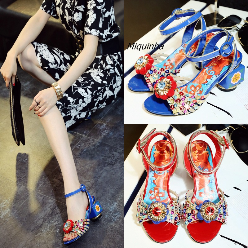 Irresistible Glittering Sequins Flowers Crystal Stick Heels Fashion Buckle Open Toe Hand Painted Heel Shoes Retro Dress Sandals irresistible