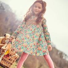 Little maven kids girls fashion brand autumn baby girls clothes draped dress Cotton flower print toddler girl dresses S0517